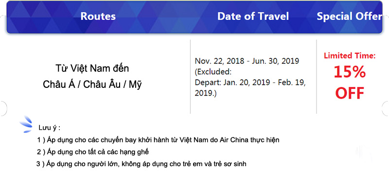Air China Khuyến Mãi Black Friday